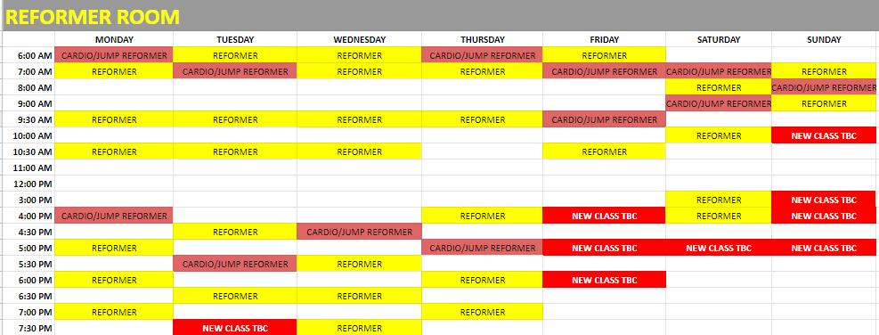 reformer pilates schedule